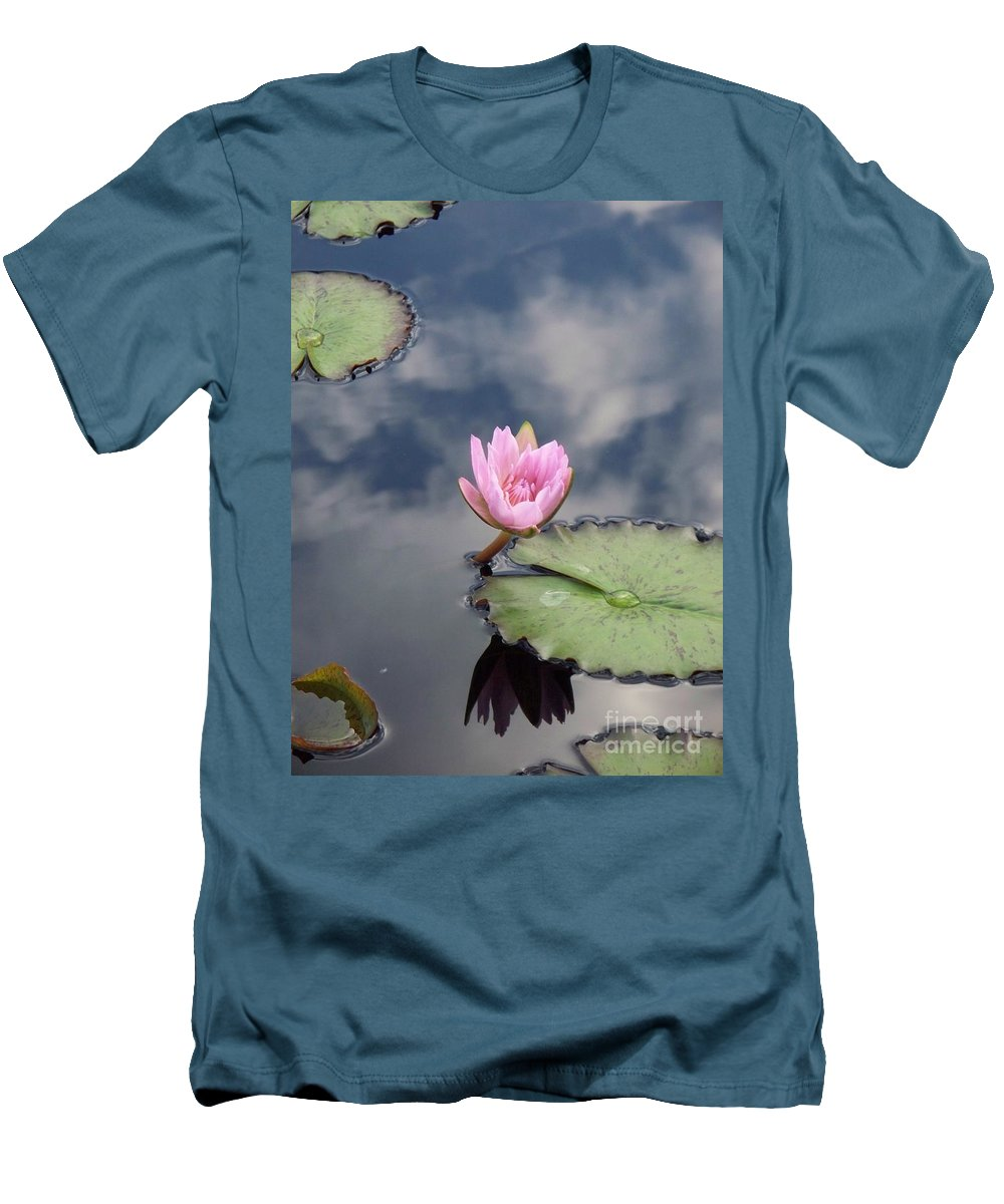 Water Lilies Men's T-Shirt (Athletic Fit) featuring the photograph Pink Lily Monet by Eric Schiabor