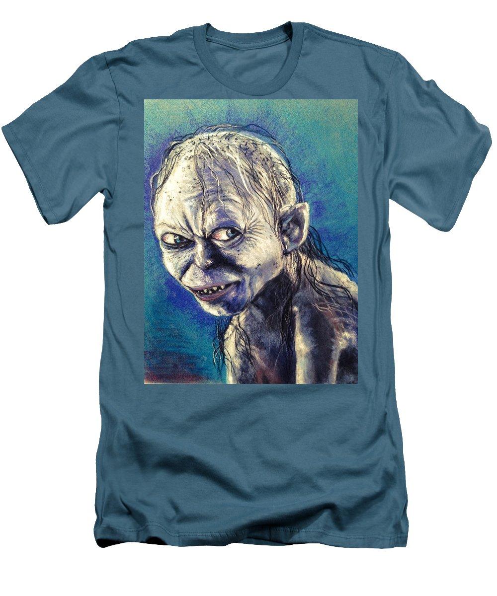 Gollum Men's T-Shirt (Athletic Fit) featuring the pastel Portrait Of Gollum by Alban Dizdari