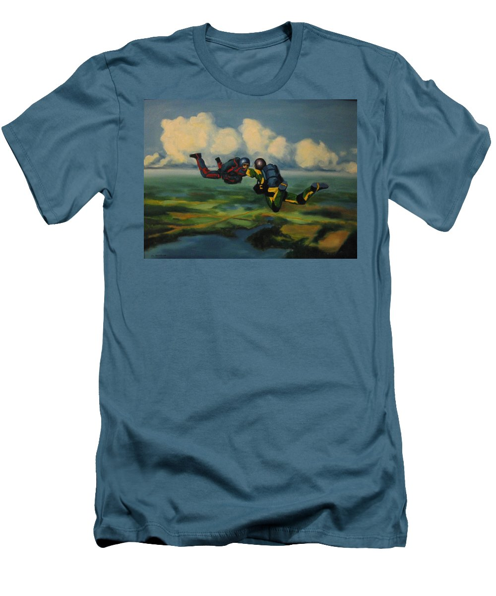 Skydivers Men's T-Shirt (Athletic Fit) featuring the painting Relative Work by John Malone