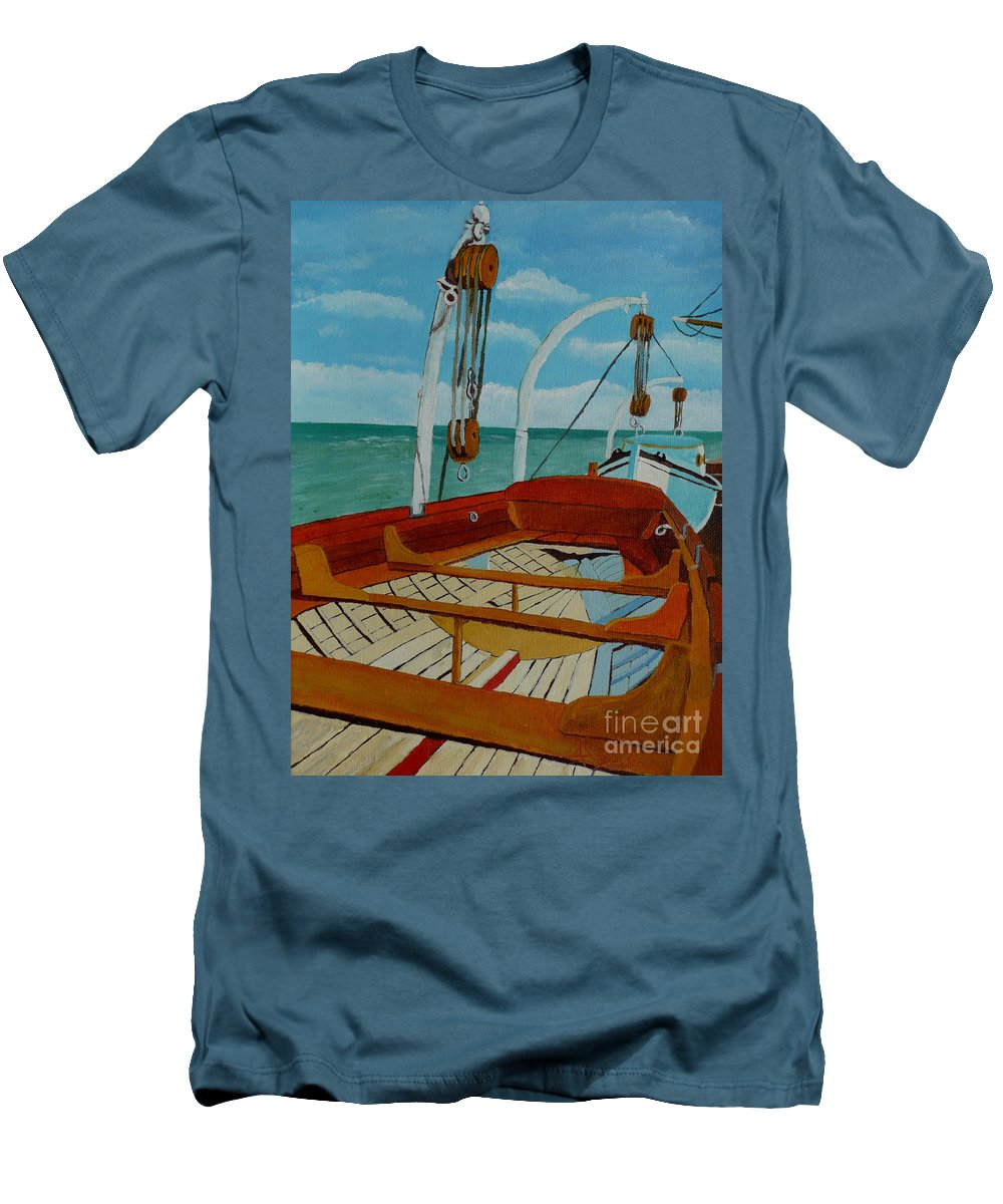 Lifeboats Men's T-Shirt (Athletic Fit) featuring the painting Rescue Me by Anthony Dunphy