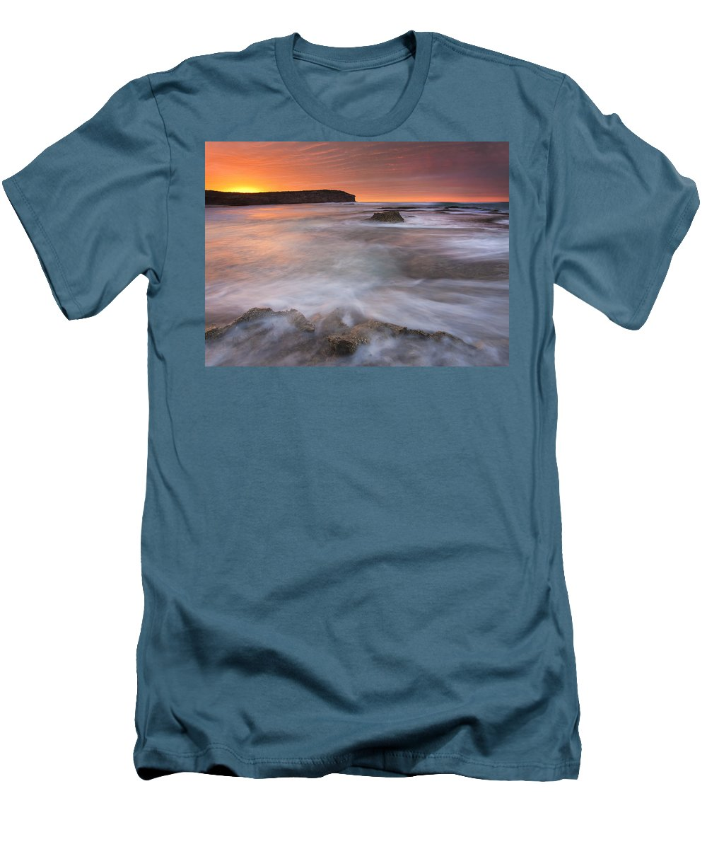 Sunrise Men's T-Shirt (Athletic Fit) featuring the photograph Splitting The Tides by Mike Dawson