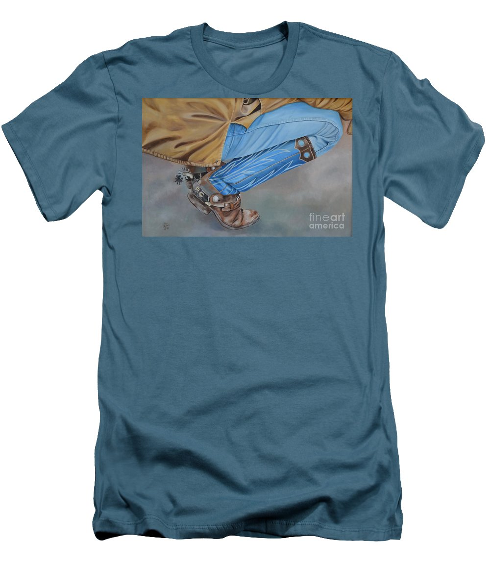 Art Men's T-Shirt (Athletic Fit) featuring the painting Spur Squatting by Mary Rogers