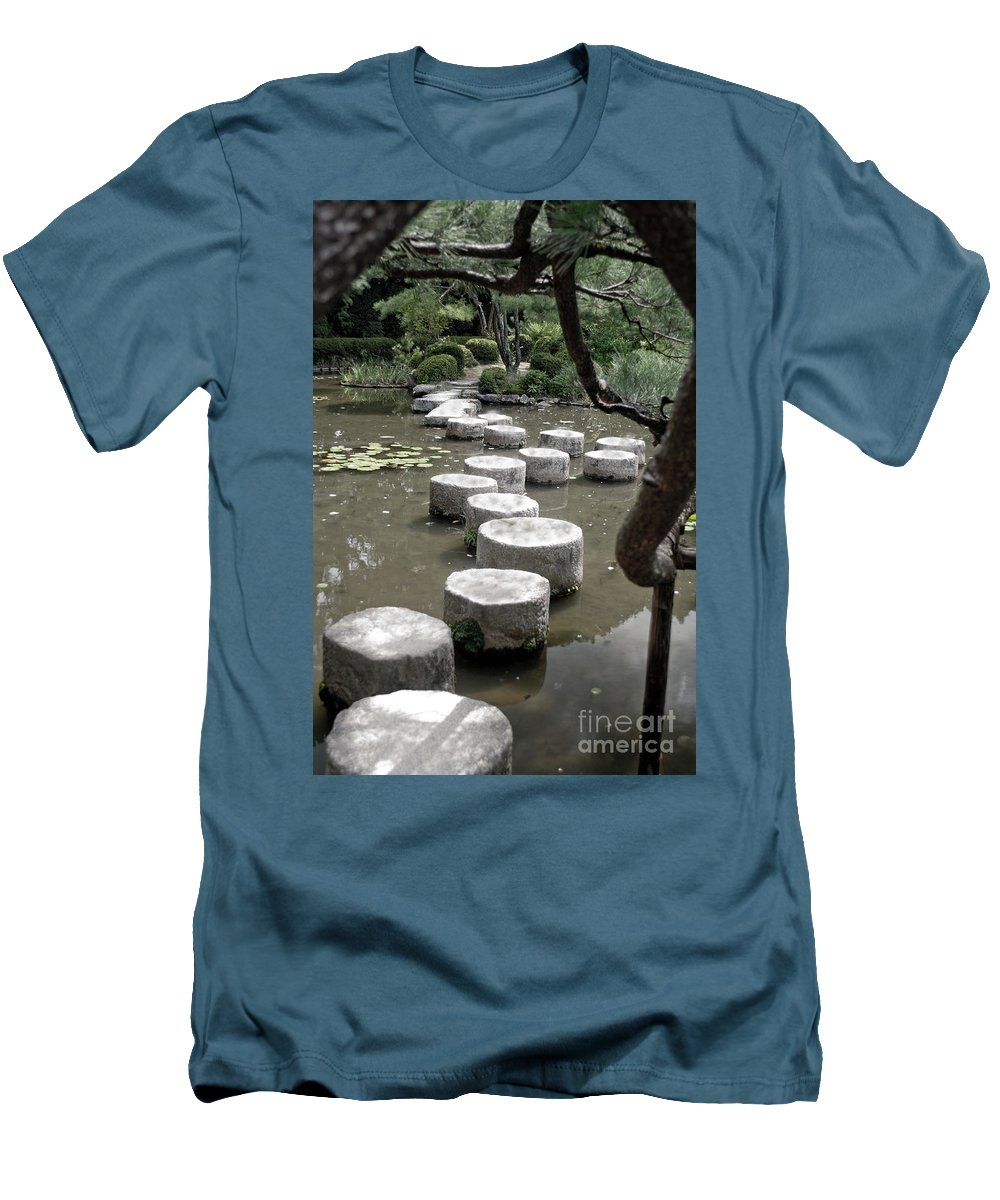 Kyoto Men's T-Shirt (Athletic Fit) featuring the photograph Stepping Stone Kyoto Japan by Thomas Marchessault