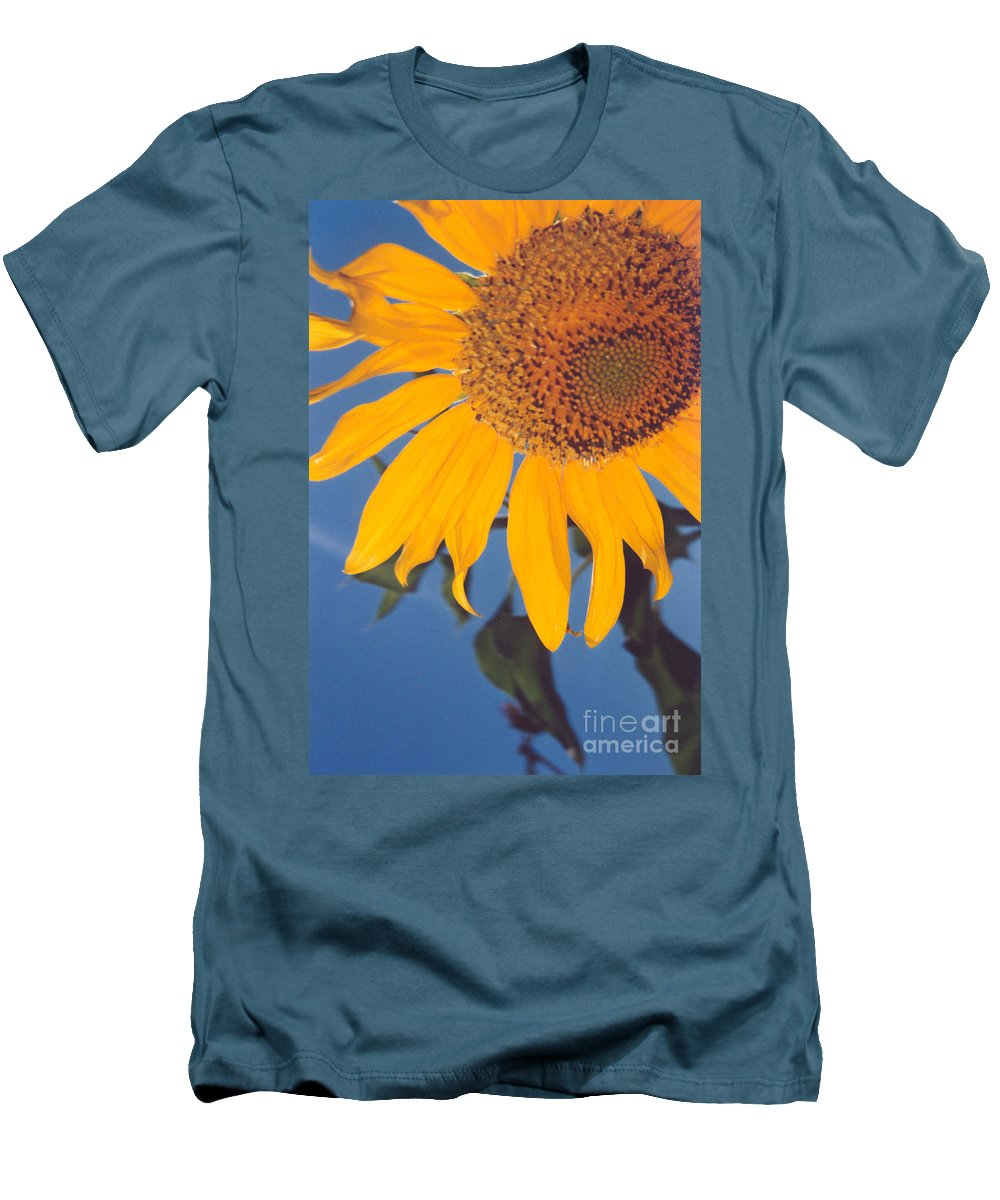 Flower Men's T-Shirt (Athletic Fit) featuring the photograph Sunflower In The Corner by Heather Kirk