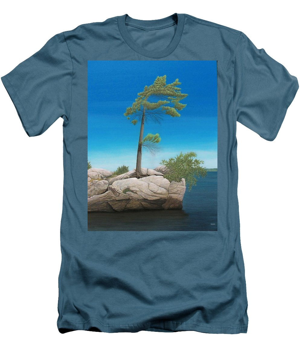 Landscapes Men's T-Shirt (Athletic Fit) featuring the painting Tree In Rock by Kenneth M Kirsch