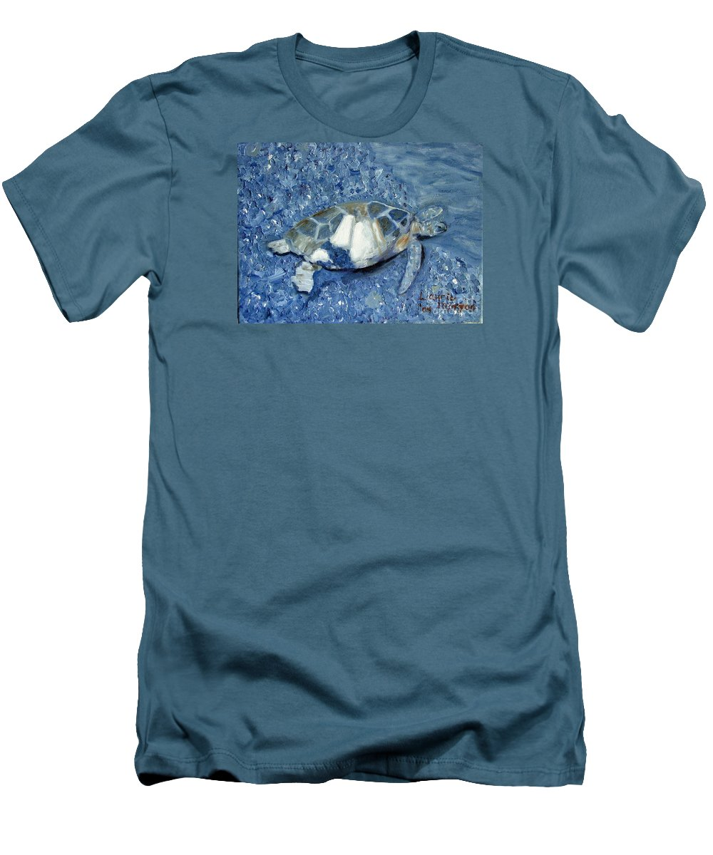 Turtle Men's T-Shirt (Athletic Fit) featuring the painting Turtle On Black Sand Beach by Laurie Morgan
