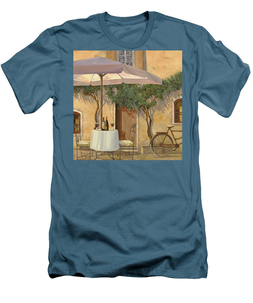 Courtyard Men's T-Shirt (Athletic Fit) featuring the painting Un Ombra In Cortile by Guido Borelli
