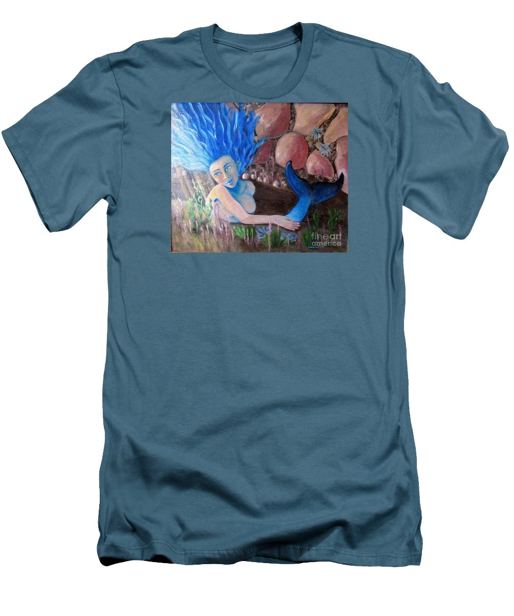 Mermaid Men's T-Shirt (Athletic Fit) featuring the painting Underwater Wonder by Laurie Morgan