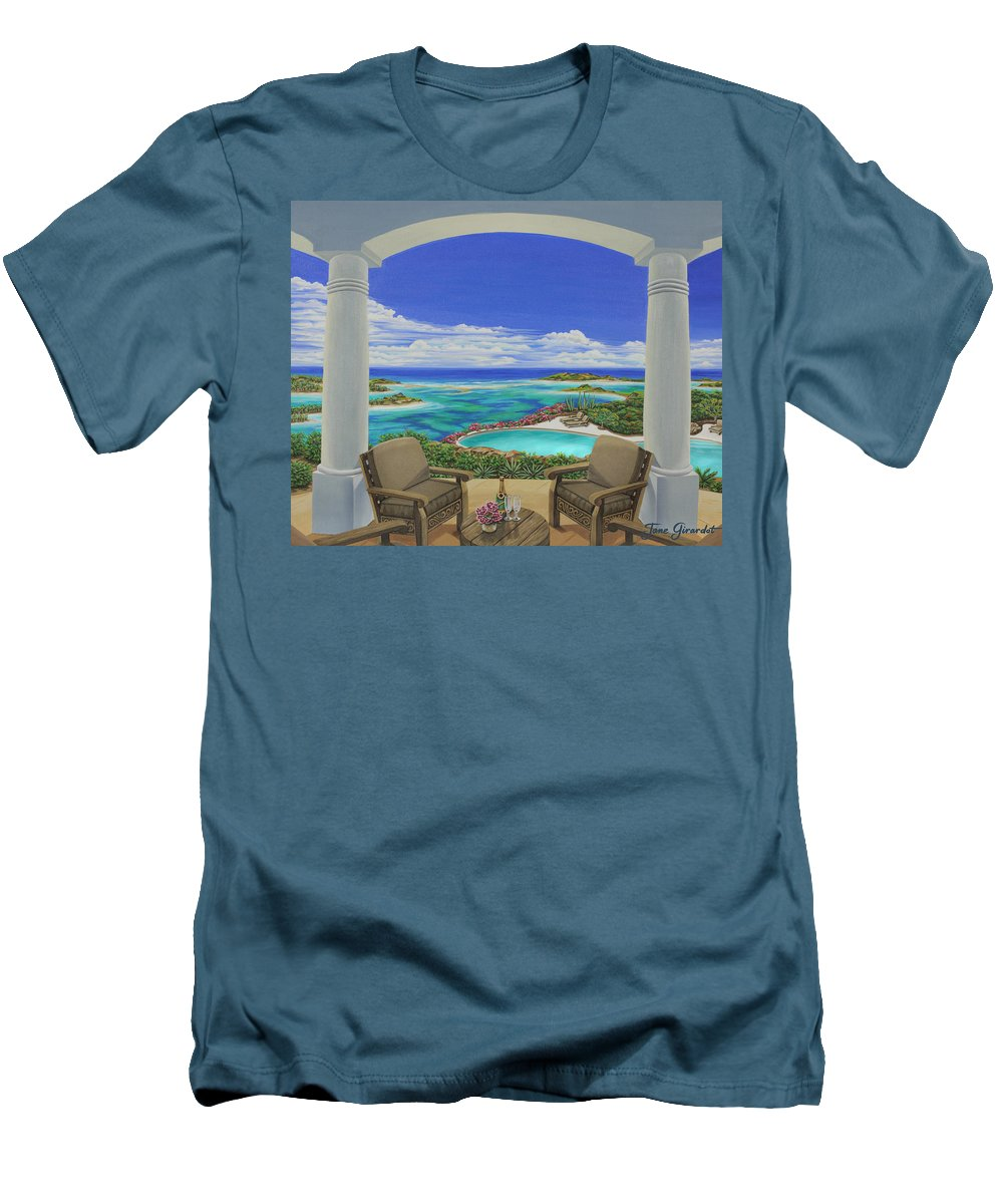 Ocean Men's T-Shirt (Athletic Fit) featuring the painting Vacation View by Jane Girardot