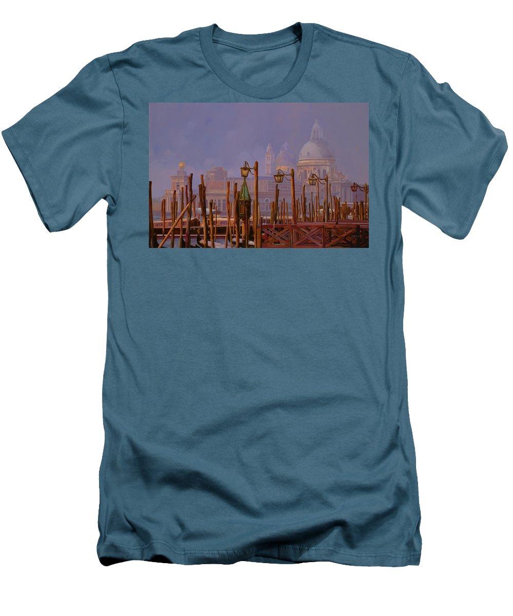 Venice Men's T-Shirt (Athletic Fit) featuring the painting Venezia E La Nebbia by Guido Borelli