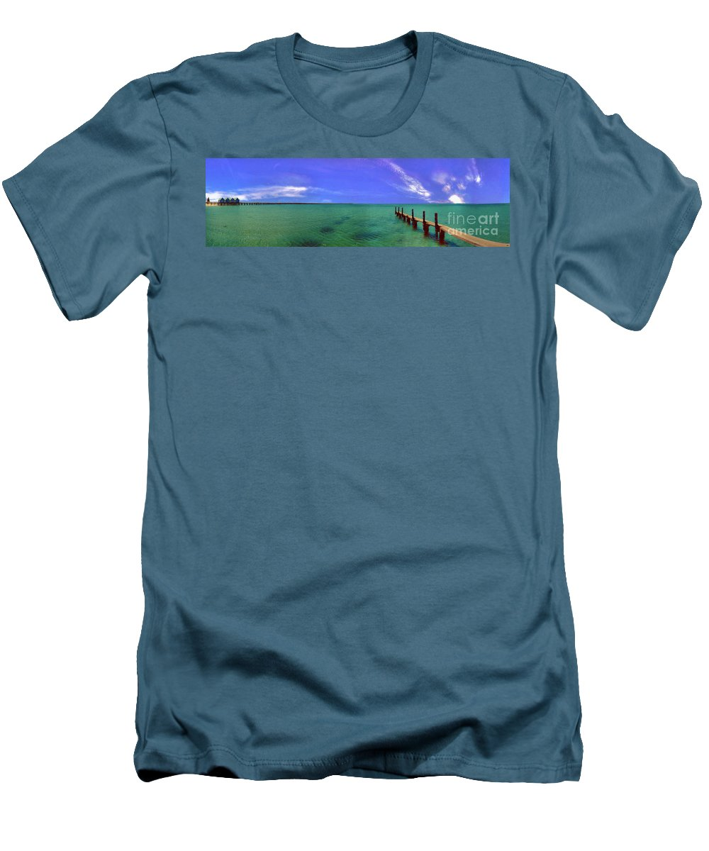 Western Australia; Beach Perth Panorama; Margaret River; Southern Hemisphere; Longest Wooden Jetty Men's T-Shirt (Athletic Fit) featuring the photograph Western Australia Busselton Jetty by David Zanzinger