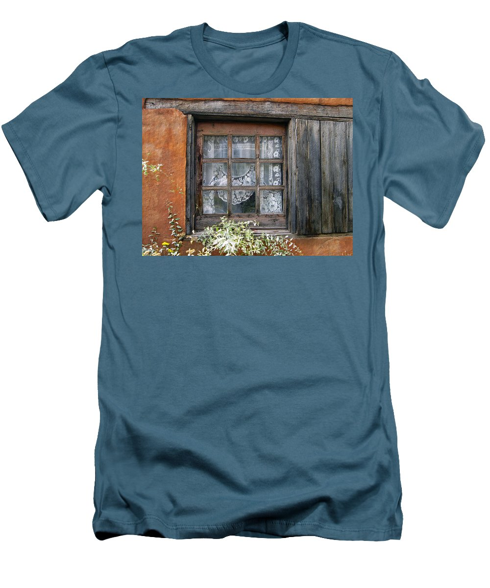 Window Men's T-Shirt (Athletic Fit) featuring the photograph Window At Old Santa Fe by Kurt Van Wagner