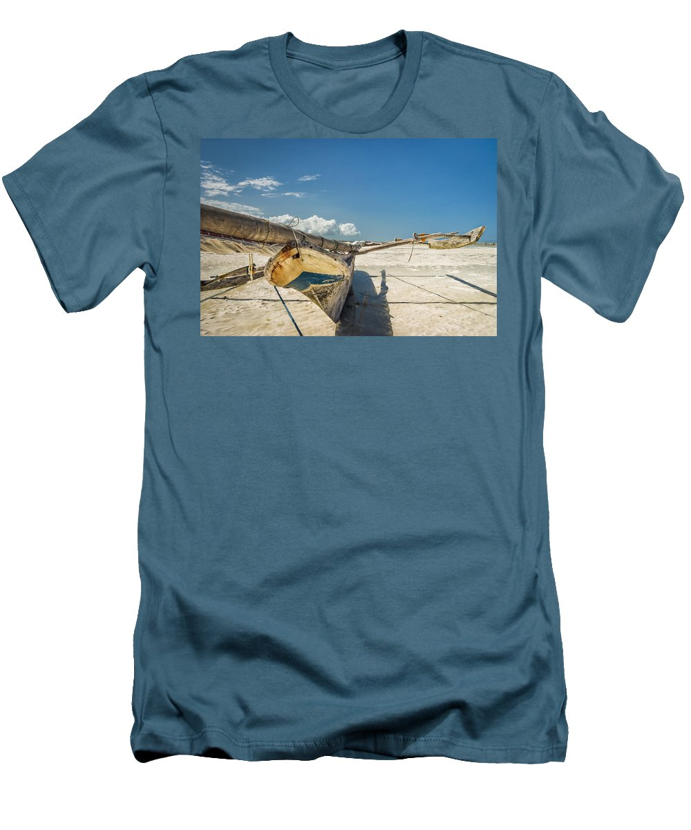3scape Men's T-Shirt (Athletic Fit) featuring the photograph Zanzibar Outrigger by Adam Romanowicz