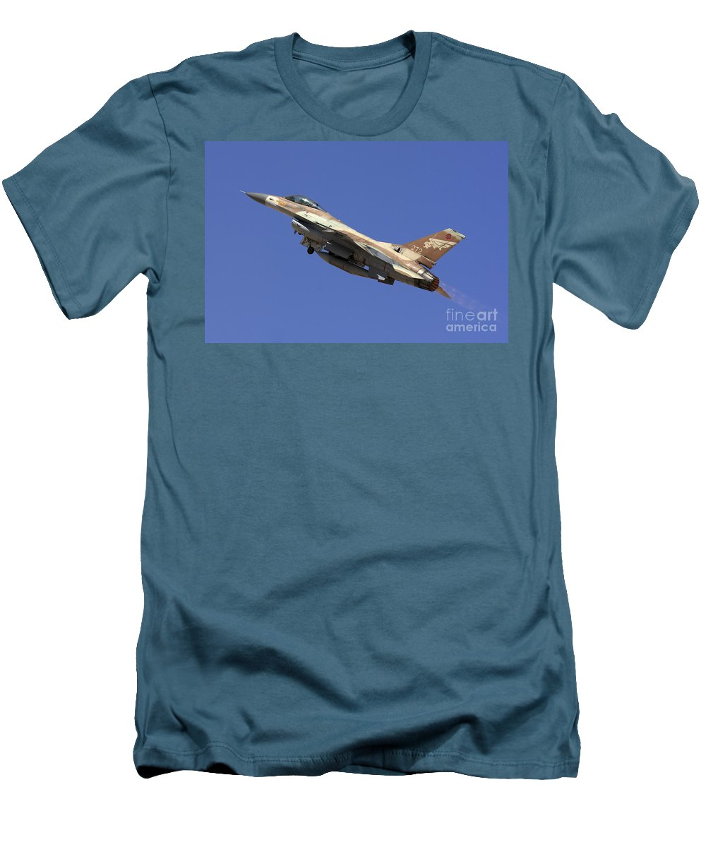 Aircraft Men's T-Shirt (Athletic Fit) featuring the photograph Iaf F-16a Fighter Jet On Blue Sky by Nir Ben-Yosef