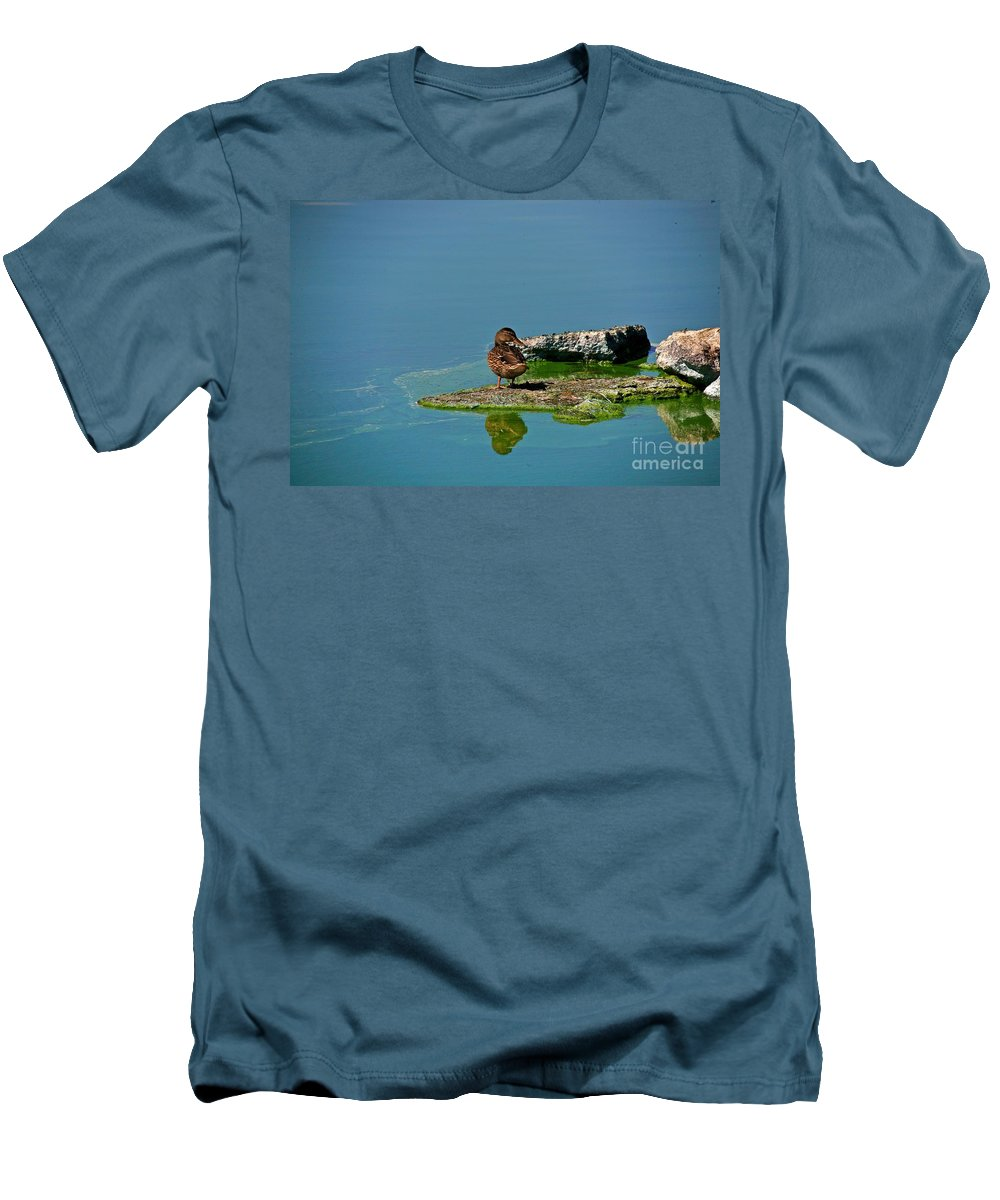 Duck Men's T-Shirt (Athletic Fit) featuring the photograph Alone by Robert Pearson