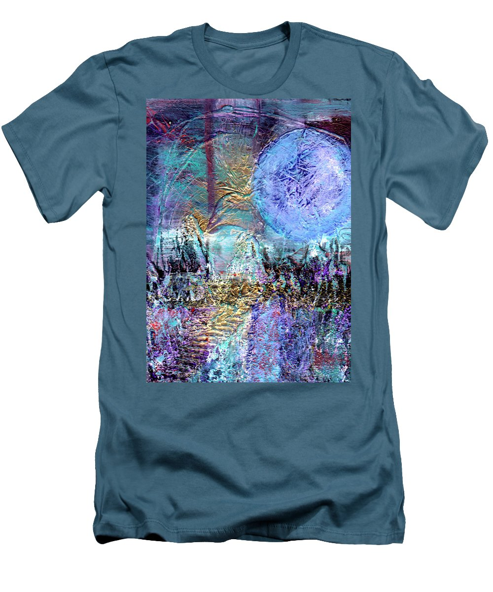 Abstract Men's T-Shirt (Athletic Fit) featuring the painting Another World by Wayne Potrafka