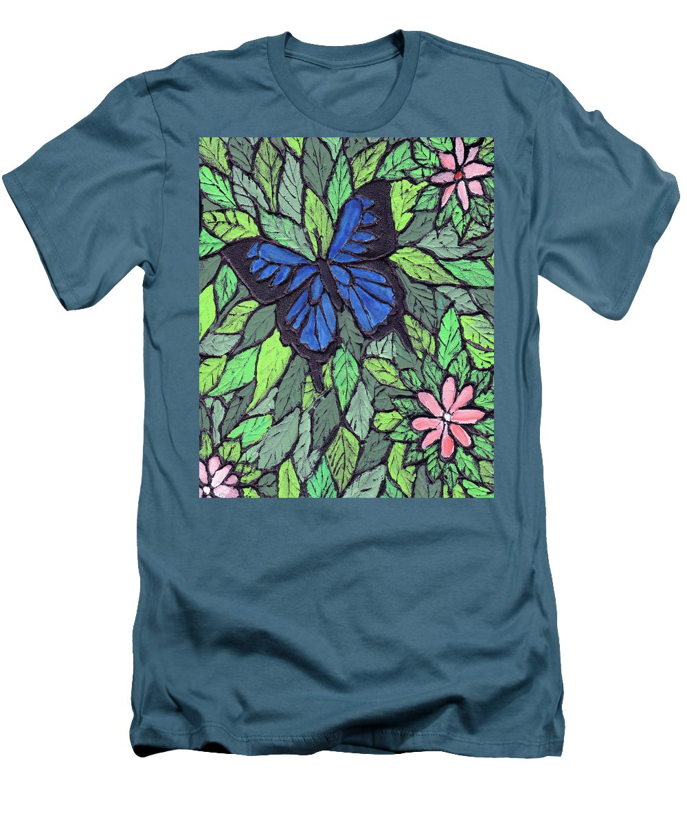 Butterfly Men's T-Shirt (Athletic Fit) featuring the painting Blue Butterfly Two by Wayne Potrafka