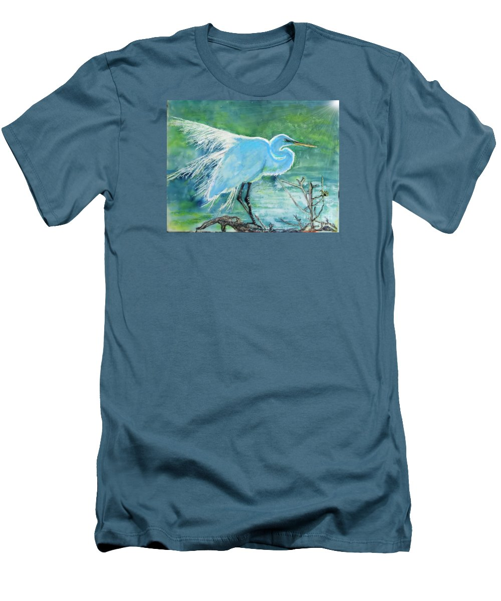 Egret Men's T-Shirt (Athletic Fit) featuring the painting Egret In The Summer Breeze by Dawn Johansen