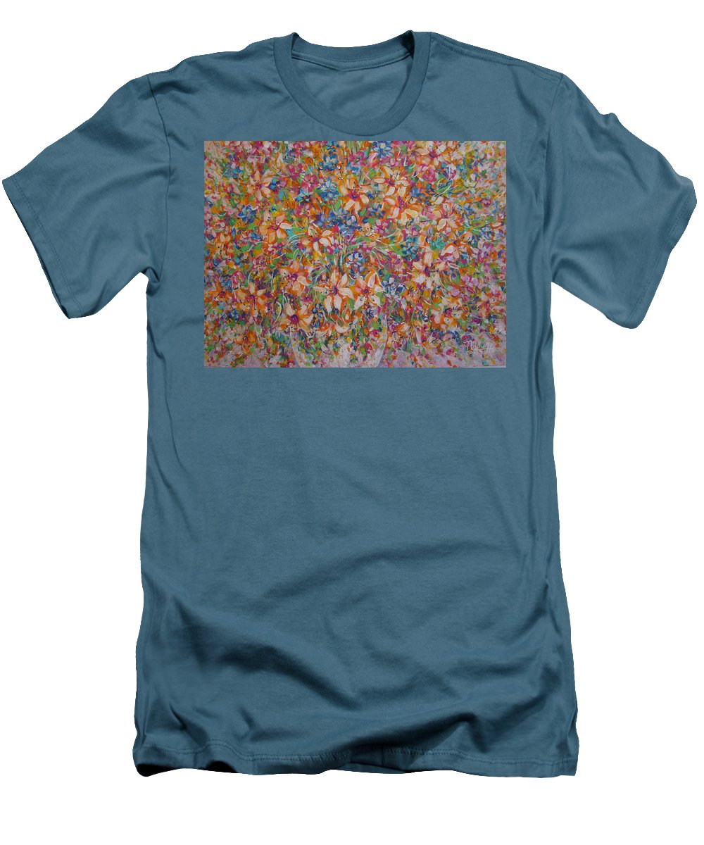 Flowers Men's T-Shirt (Athletic Fit) featuring the painting Flower Galaxy by Natalie Holland