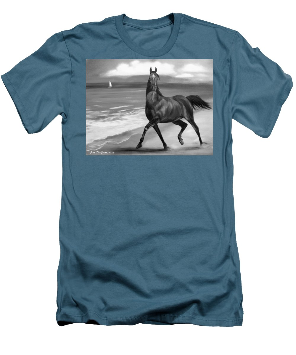 Horses Men's T-Shirt (Athletic Fit) featuring the painting Horses In Paradise Dance by Gina De Gorna