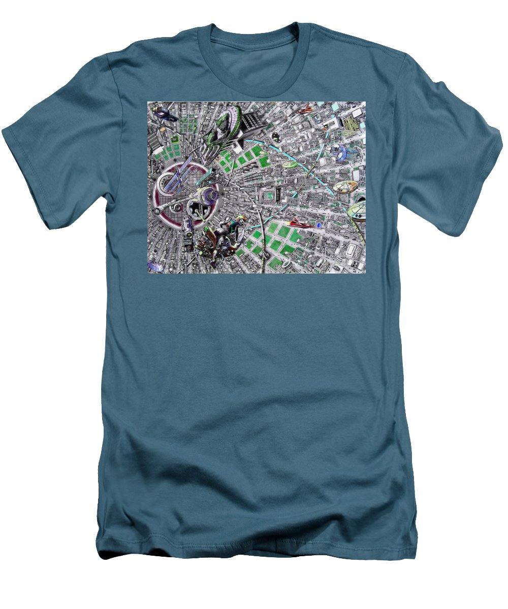 Landscape Men's T-Shirt (Athletic Fit) featuring the drawing Inside Orbital City by Murphy Elliott