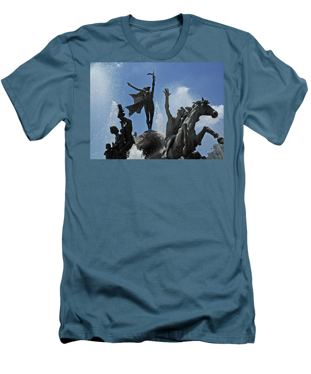 Statue Men's T-Shirt (Athletic Fit) featuring the photograph Old San Juan Puerto Rico by Tito Santiago