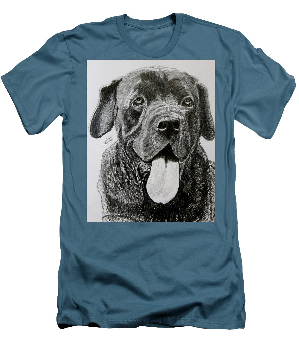 Dog Portrait Men's T-Shirt (Athletic Fit) featuring the drawing Sampson by Stan Hamilton