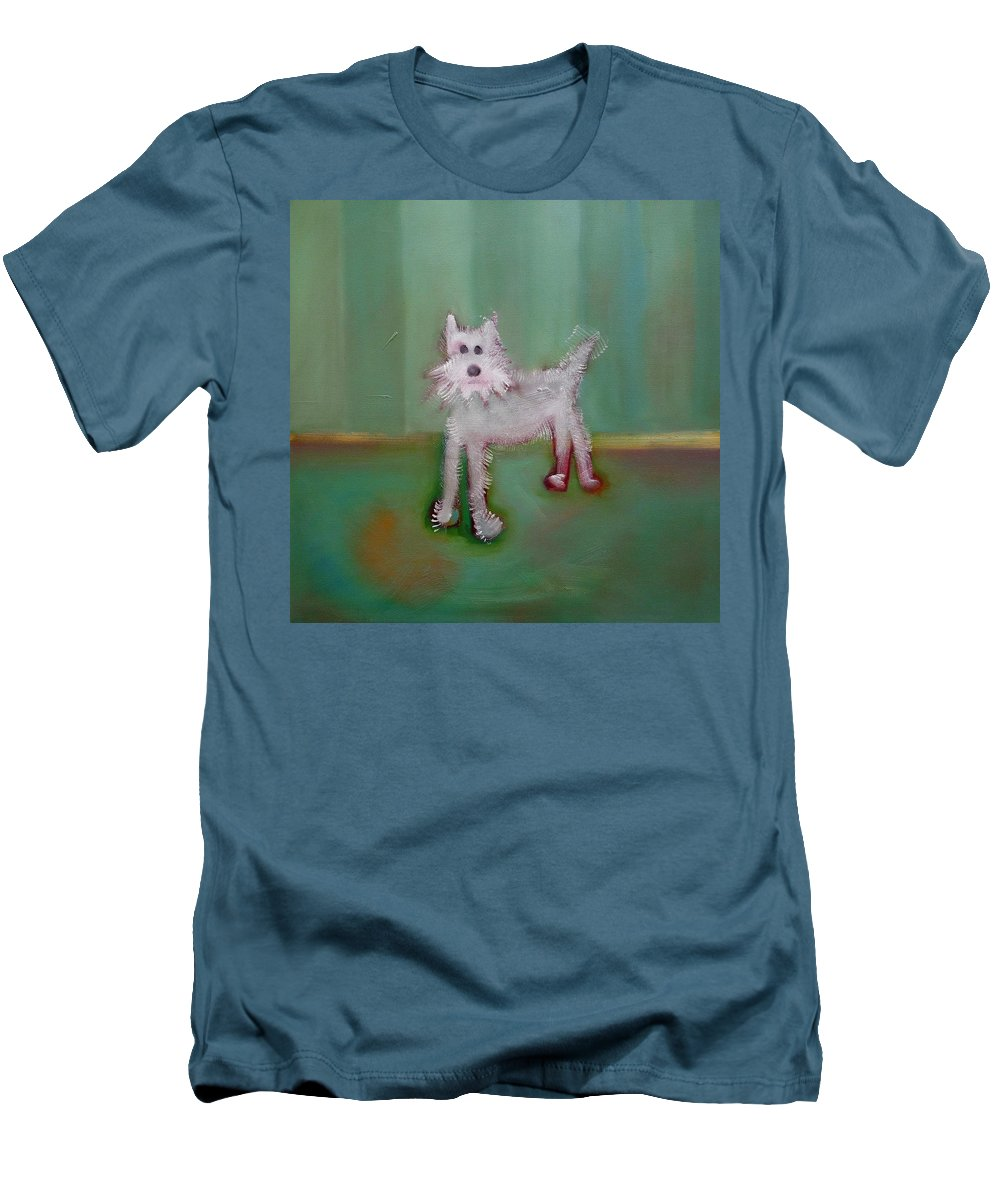 White Puppy Men's T-Shirt (Athletic Fit) featuring the painting Snowy by Charles Stuart