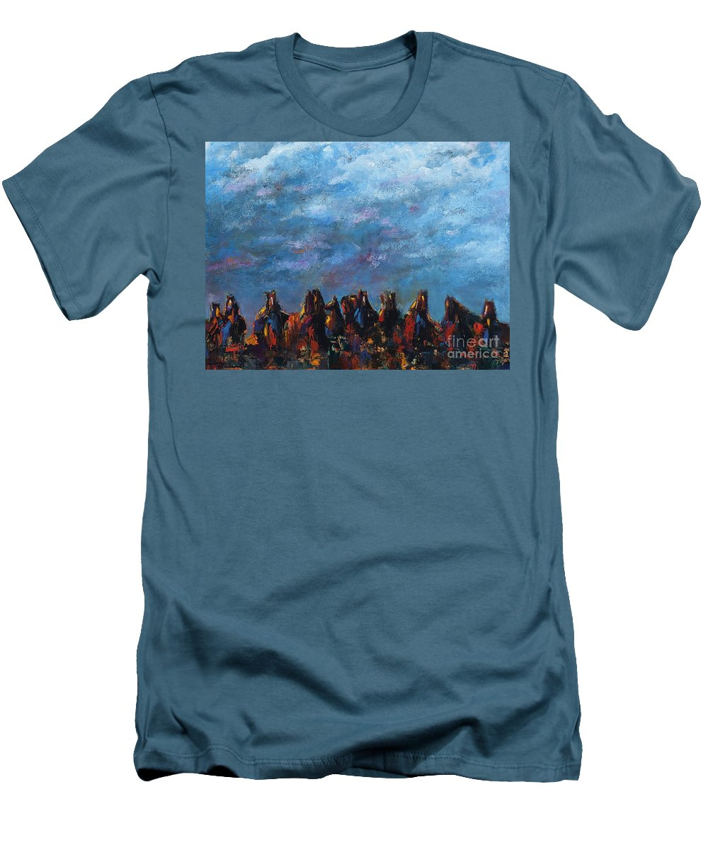 Horses Men's T-Shirt (Athletic Fit) featuring the painting Stampede by Frances Marino