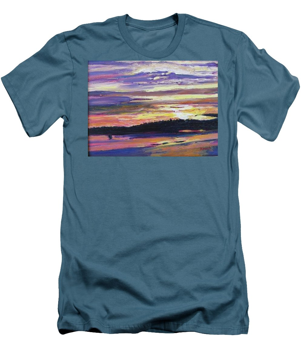 Sunset Men's T-Shirt (Athletic Fit) featuring the painting Sunset by Richard Nowak