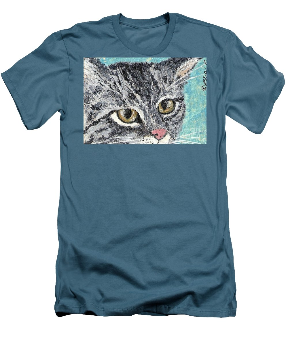 Cats Men's T-Shirt (Athletic Fit) featuring the painting Tiger Cat by Reina Resto