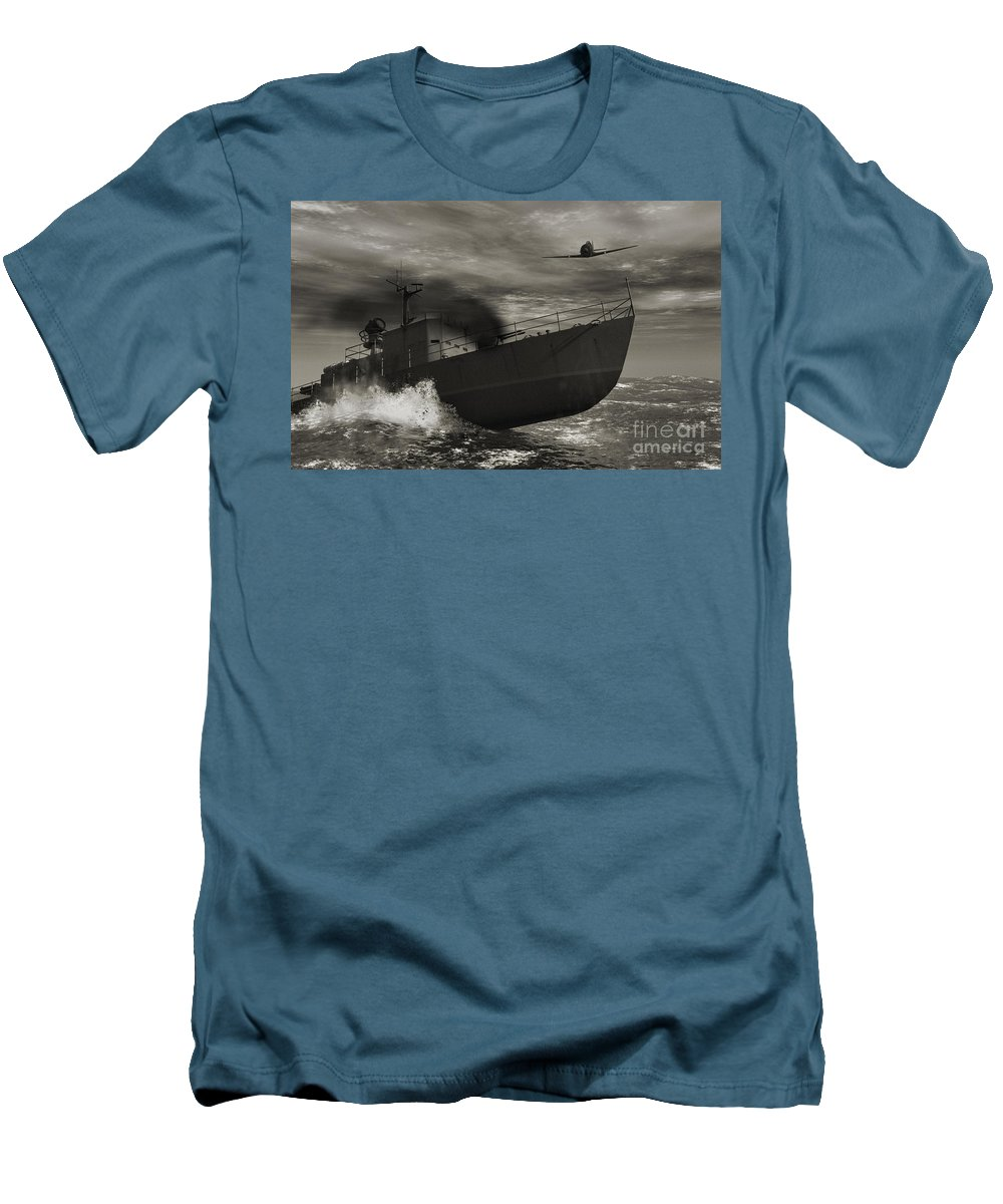 War Men's T-Shirt (Athletic Fit) featuring the digital art Under Attack by Richard Rizzo
