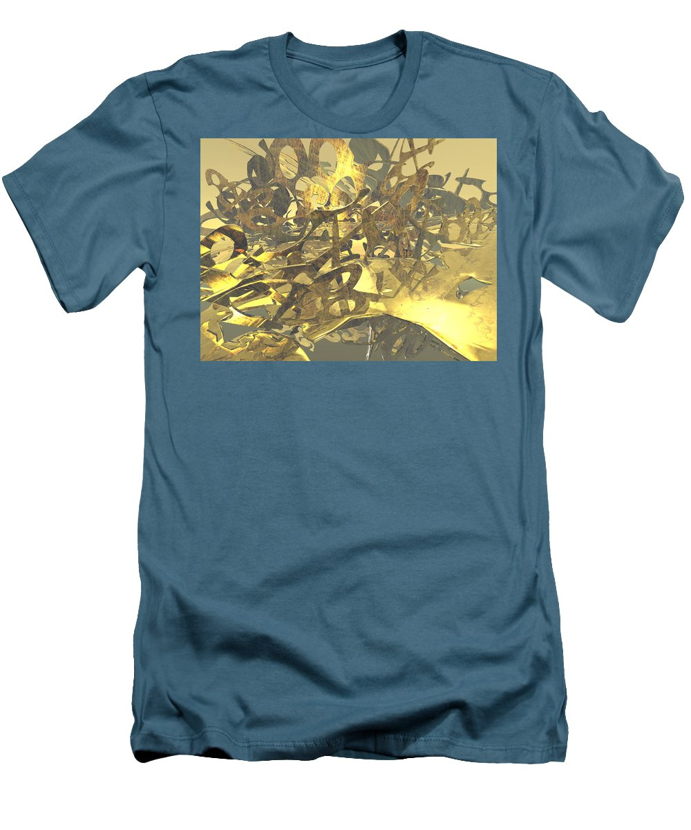 Scott Piers Men's T-Shirt (Athletic Fit) featuring the painting Urban Gold by Scott Piers