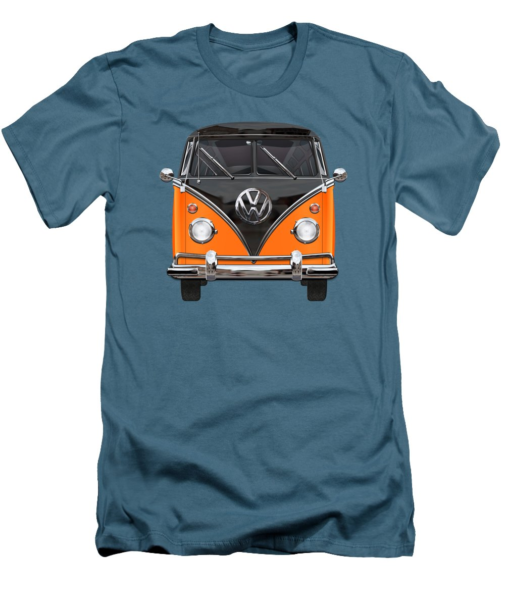 'volkswagen Type 2' Collection By Serge Averbukh Men's T-Shirt (Slim Fit) featuring the photograph Volkswagen Type 2 - Black And Orange Volkswagen T 1 Samba Bus Over Blue by Serge Averbukh