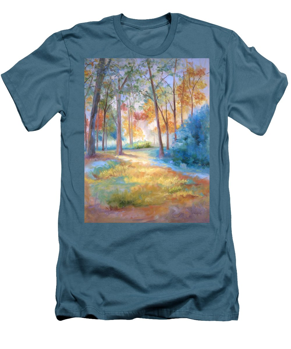 Wooded Paths Men's T-Shirt (Athletic Fit) featuring the painting Homeward by Ginger Concepcion