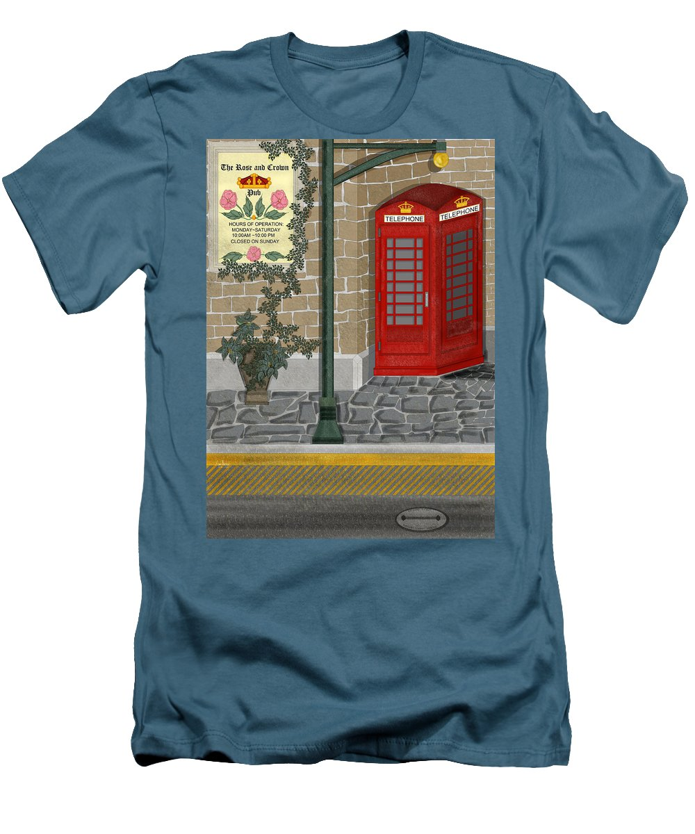 Cityscape Men's T-Shirt (Athletic Fit) featuring the painting A Merry Old Corner In London by Anne Norskog