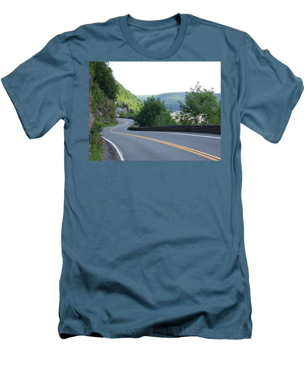 Road Men's T-Shirt (Athletic Fit) featuring the photograph A Winding Road by Laurie Paci