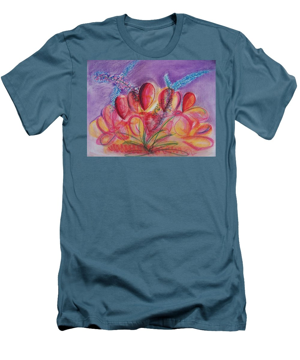 Abstract Men's T-Shirt (Athletic Fit) featuring the drawing Abstract Red And Purple And Blue by Eric Schiabor