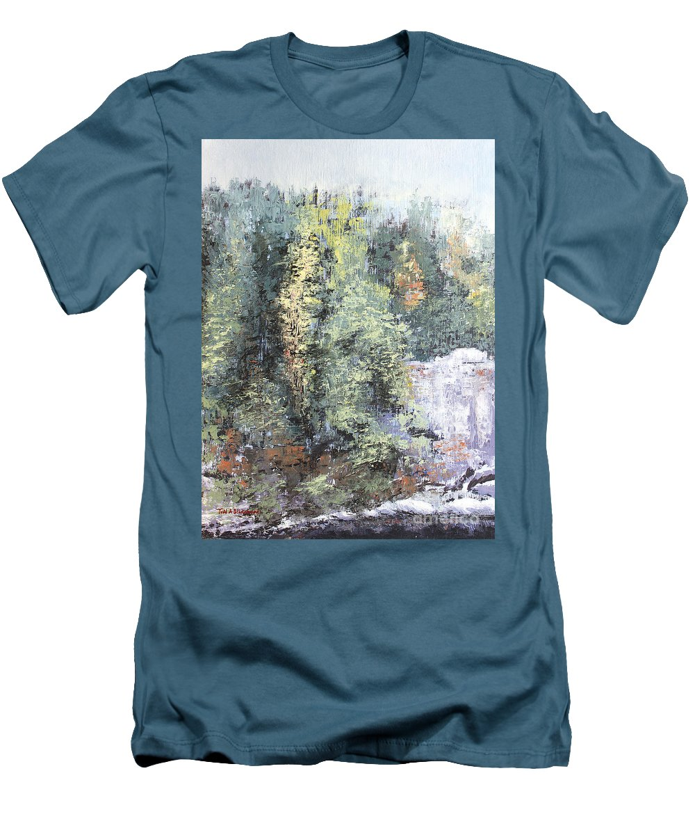 Landscape Men's T-Shirt (Athletic Fit) featuring the painting Across The Ravine by Todd Blanchard