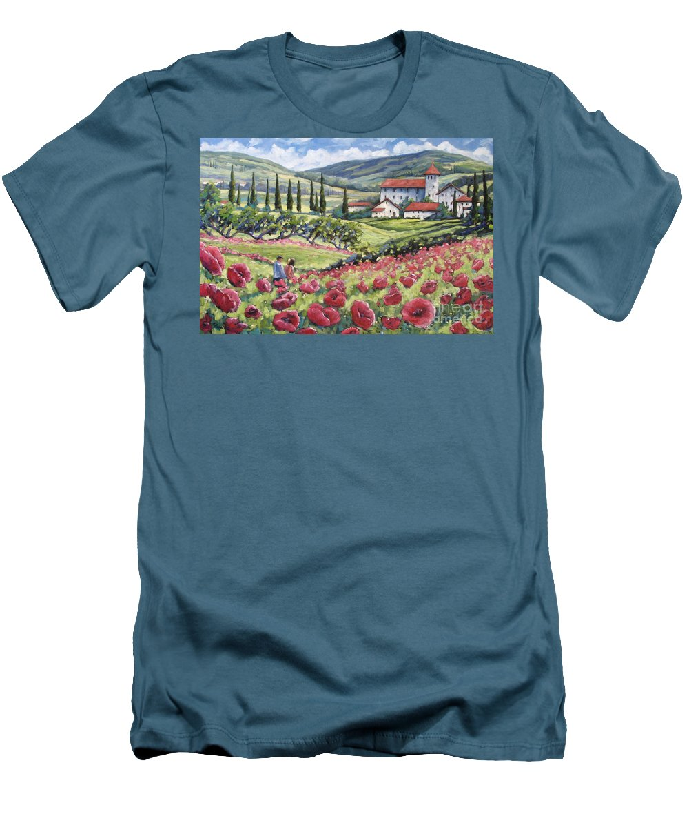 Tuscan Men's T-Shirt (Athletic Fit) featuring the painting Afternoon Stroll by Richard T Pranke