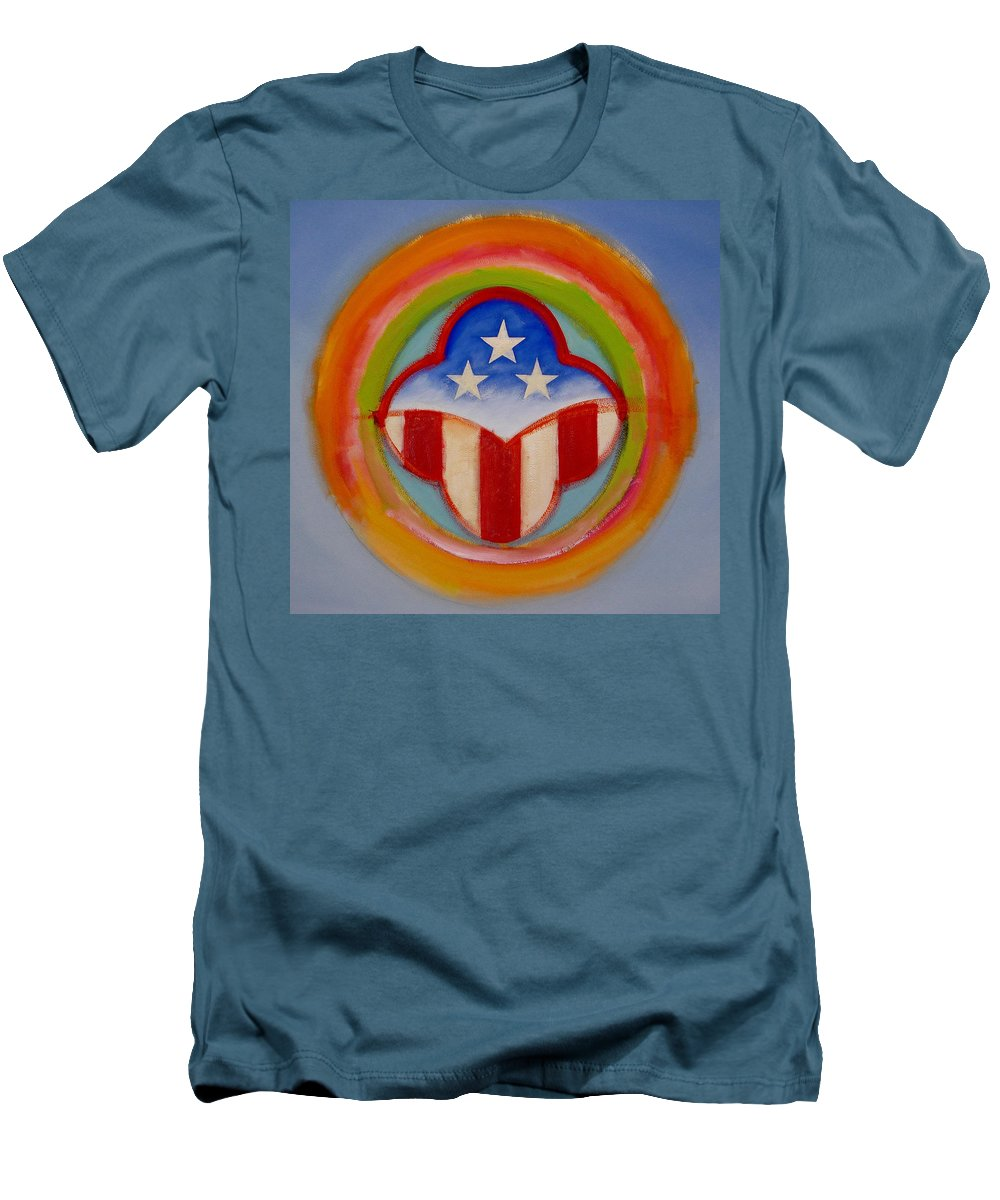 Logo Men's T-Shirt (Athletic Fit) featuring the painting American Three Star Landscape by Charles Stuart