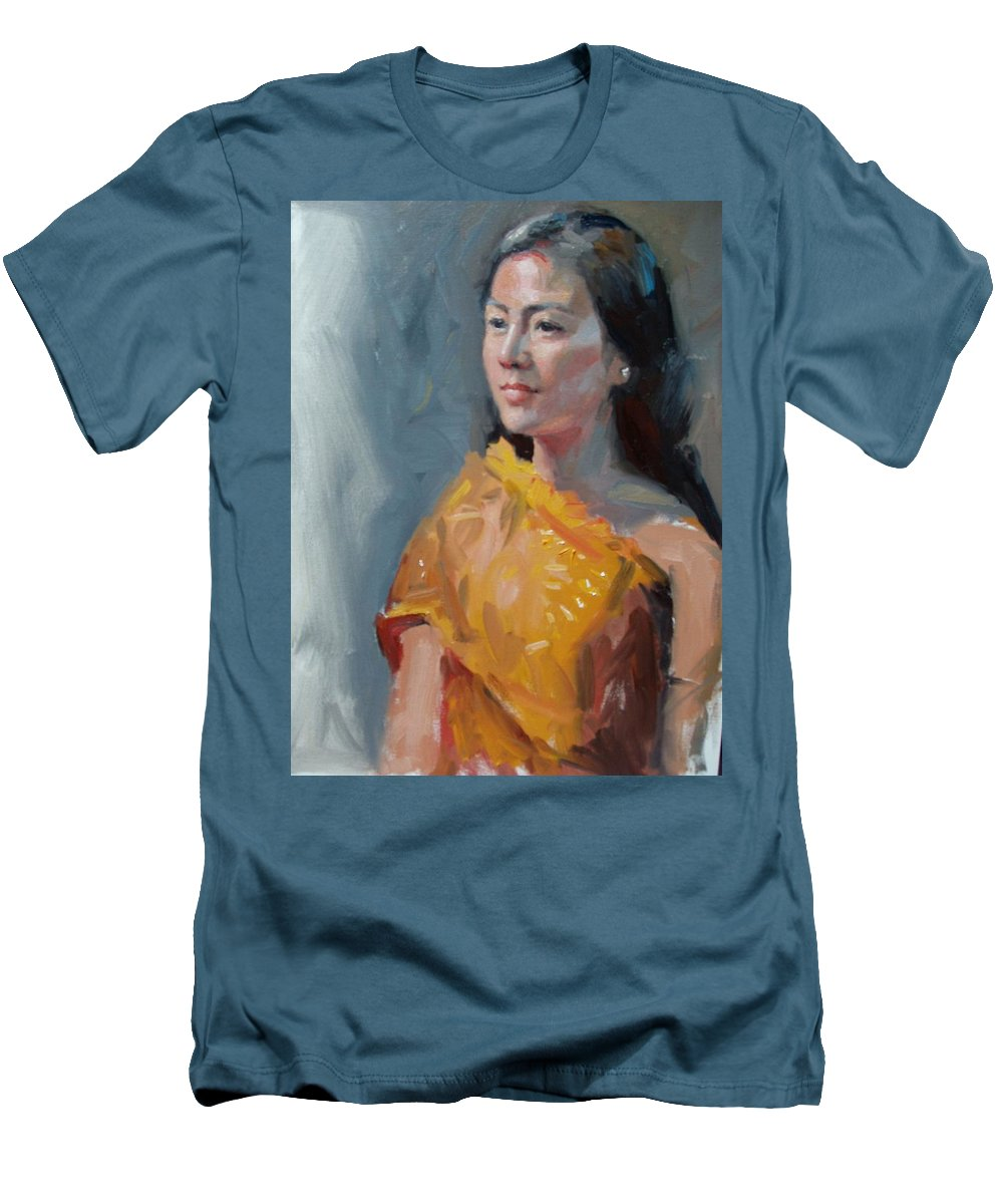 Portrait Men's T-Shirt (Athletic Fit) featuring the painting Anna by Dianne Panarelli Miller
