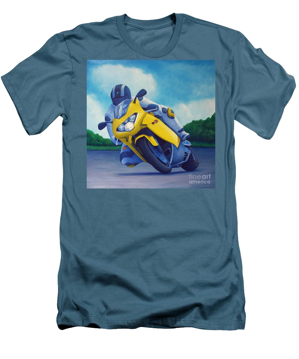 Motorcycle Men's T-Shirt (Athletic Fit) featuring the painting Aprilla - Tuesday Afternoon by Brian Commerford