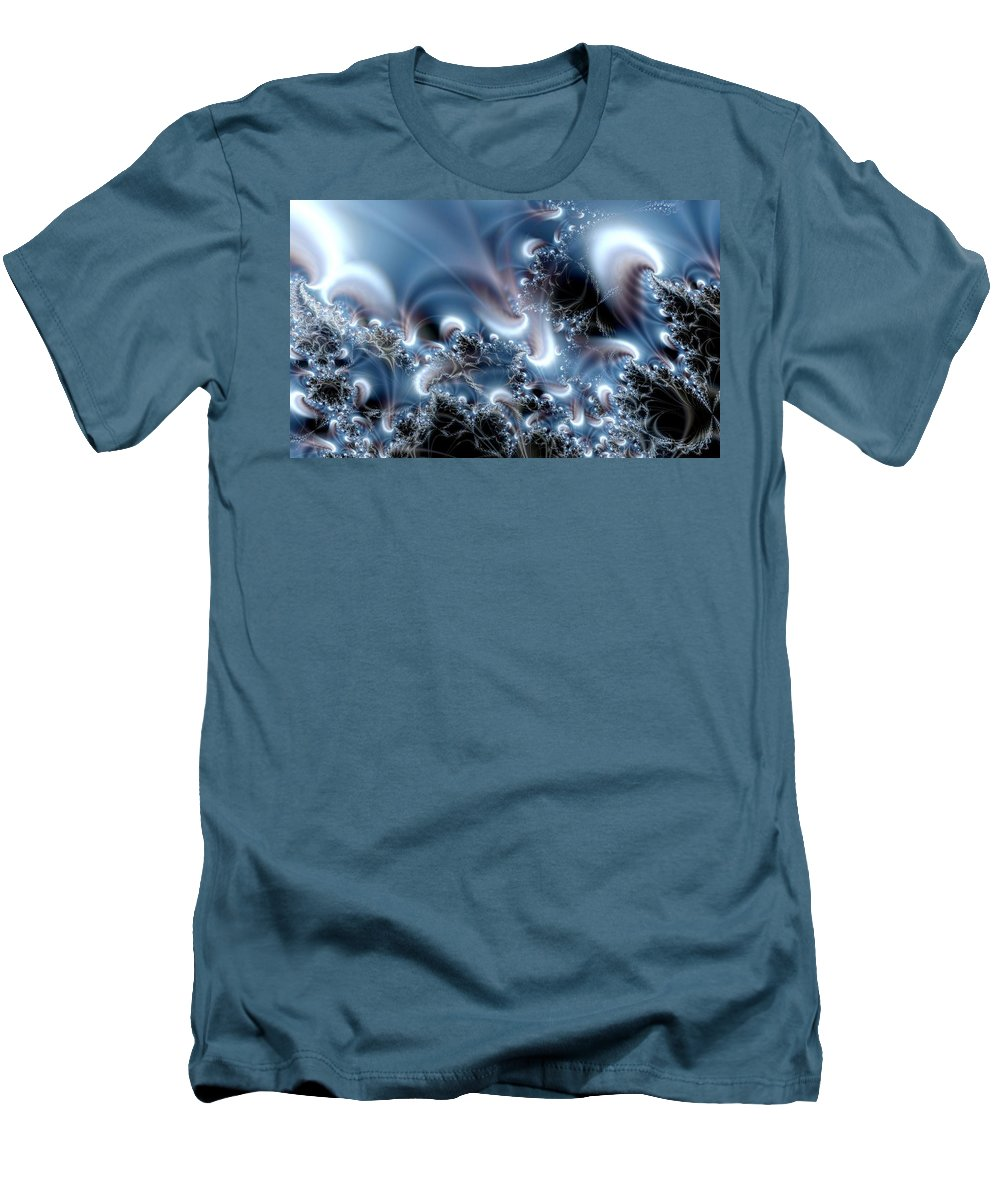 Water Bubbles Blue Nature Flow Men's T-Shirt (Athletic Fit) featuring the digital art Aquafractal by Veronica Jackson