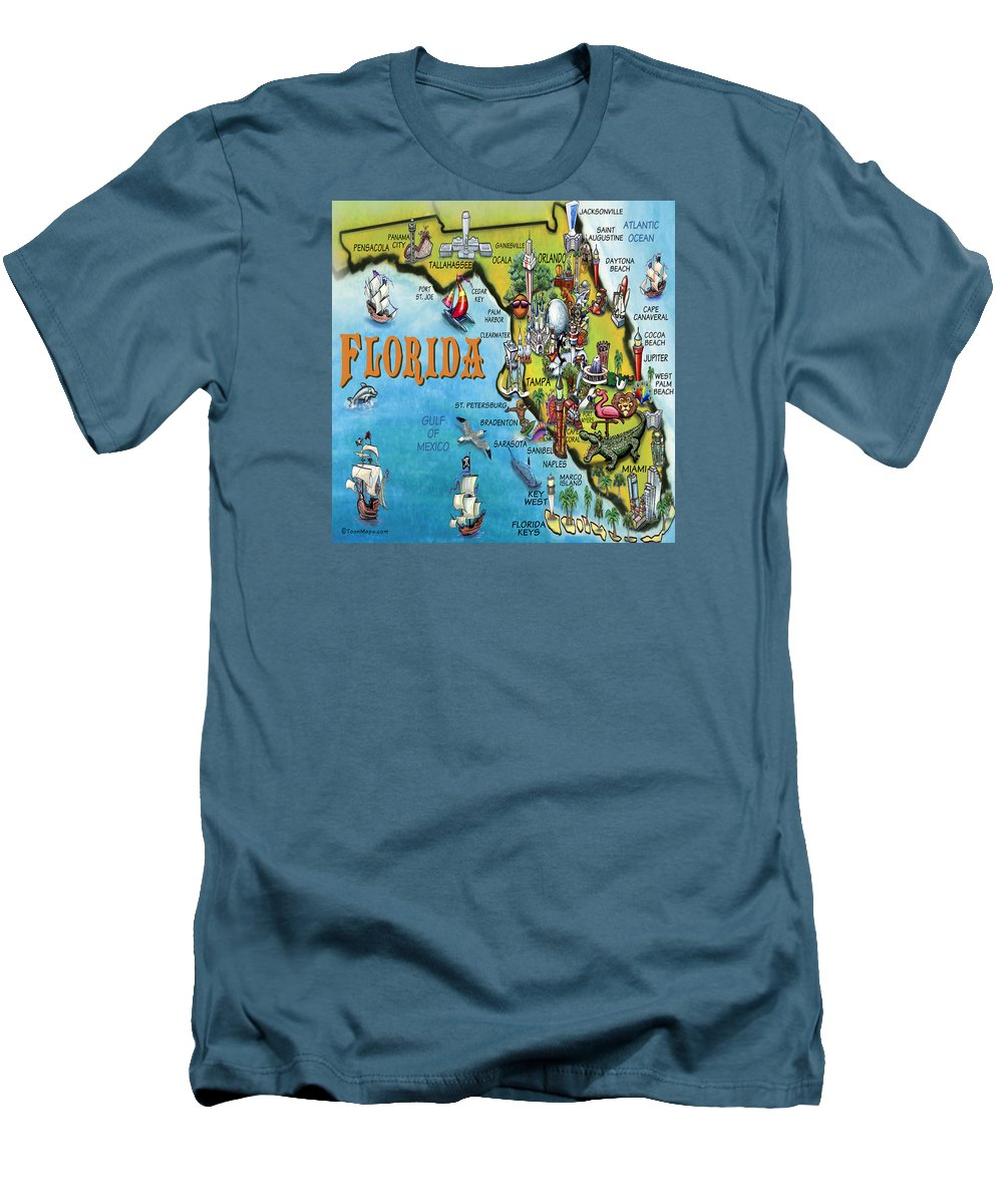 Florida Men's T-Shirt (Athletic Fit) featuring the digital art Florida Cartoon Map by Kevin Middleton