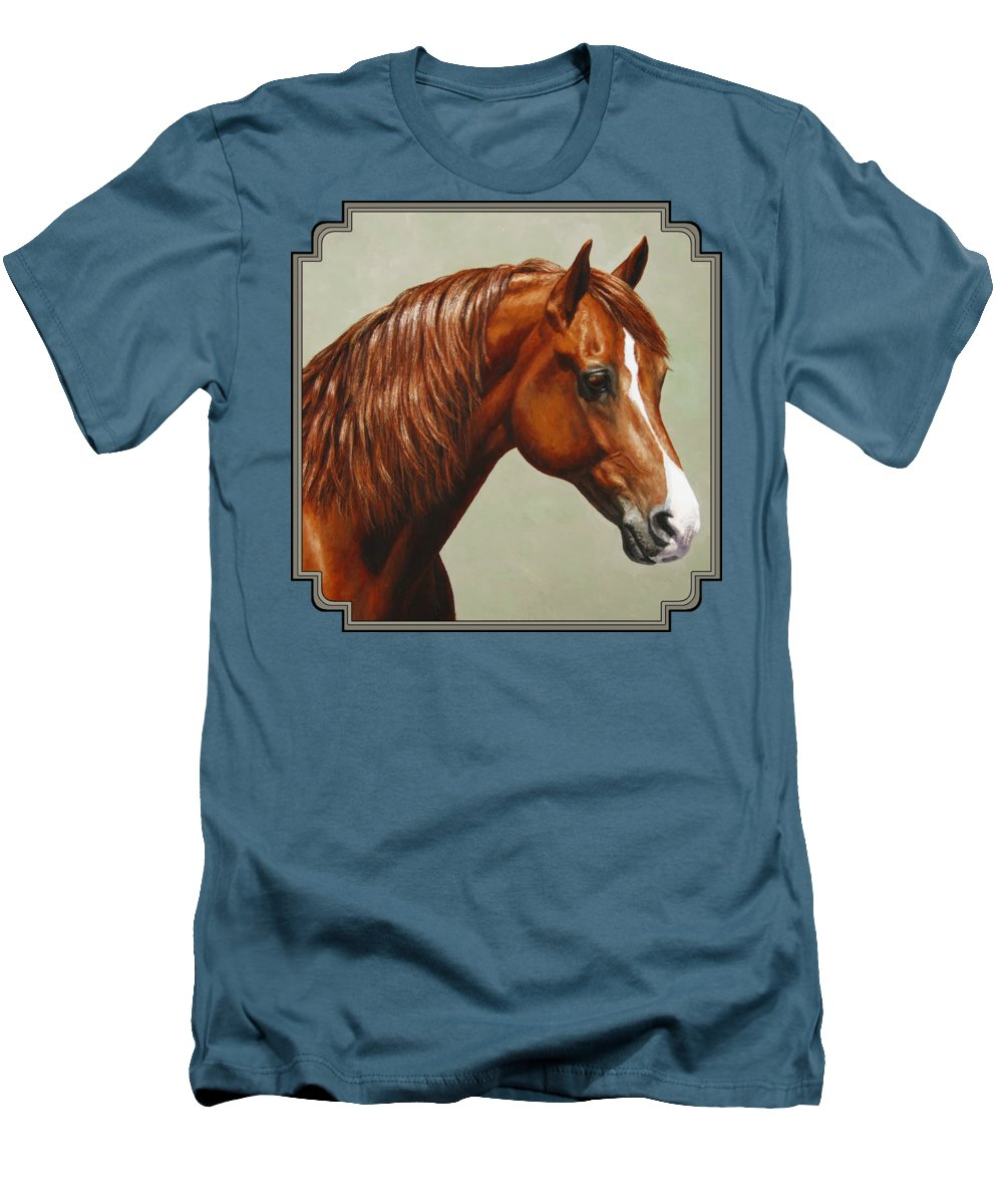 Horse Men's T-Shirt (Athletic Fit) featuring the painting Morgan Horse - Flame by Crista Forest