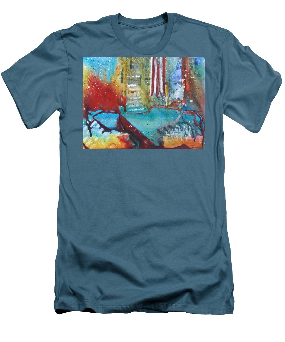 Abstract Men's T-Shirt (Athletic Fit) featuring the painting Atlantis Crashing Into The Sea by Ruth Kamenev