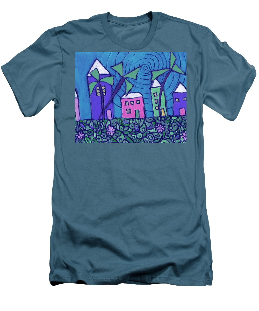 Whimsical Men's T-Shirt (Athletic Fit) featuring the painting Back Home On The Island by Wayne Potrafka