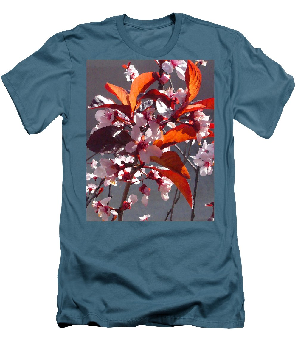 Floral Men's T-Shirt (Athletic Fit) featuring the painting Backlit Pink Tree Blossoms by Amy Vangsgard