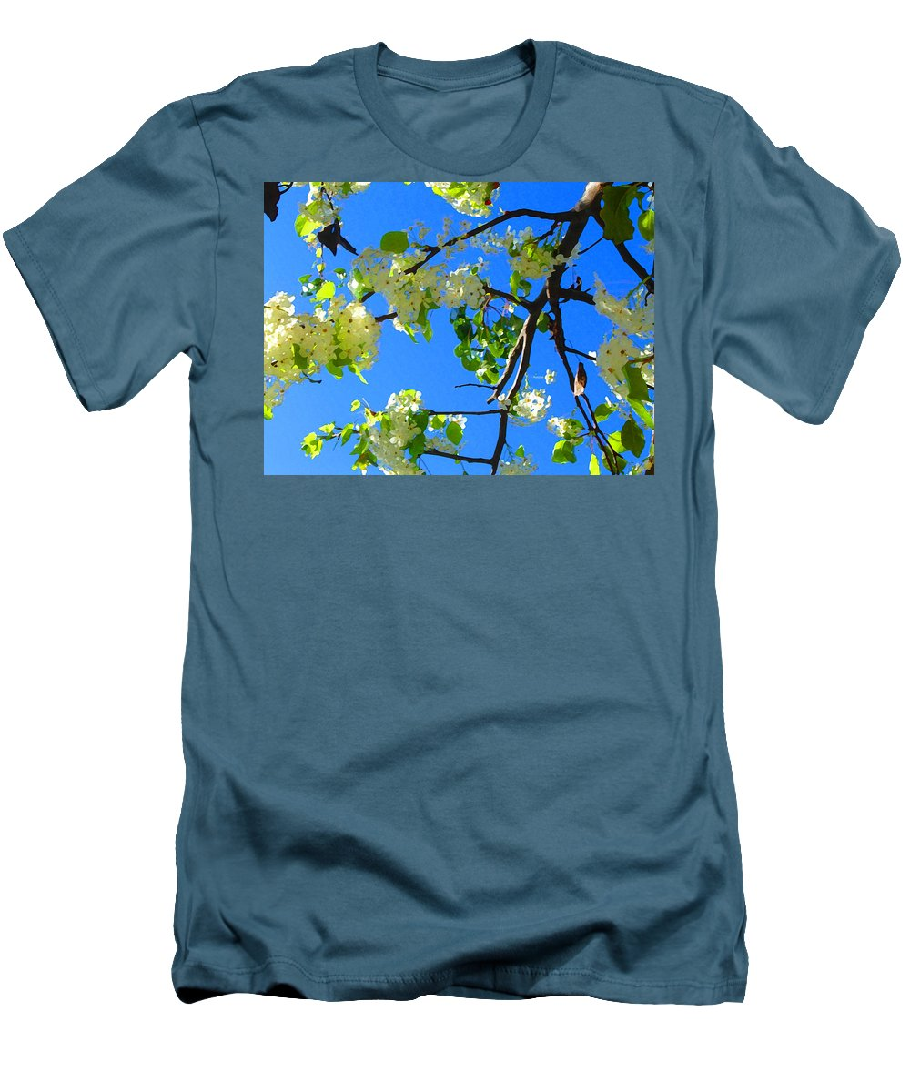 Tree Blossoms Men's T-Shirt (Athletic Fit) featuring the painting Backlit White Tree Blossoms by Amy Vangsgard